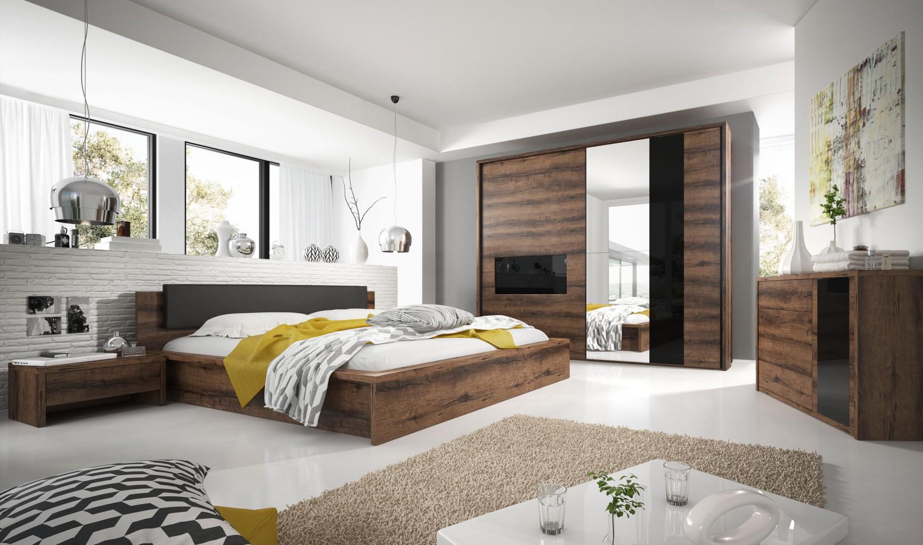 Sypialnia Indira to nowoczesne meble o minimalistycznych kształtach. Fot. Helvetia Wieruszów