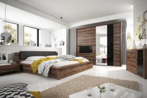 Meble w sypialni. Nowości z dekorem drewna