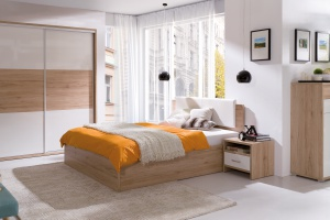 Meble w sypialni. Modne kolekcje w jasnych kolorach