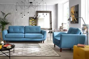 Mała sofa plus fotel - idealny zestaw do niewielkiego mieszkania