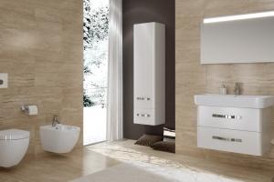 Meble łazienkowe o zaokrąglonych bryłach