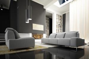 Sofa w salonie. Moda na szarości