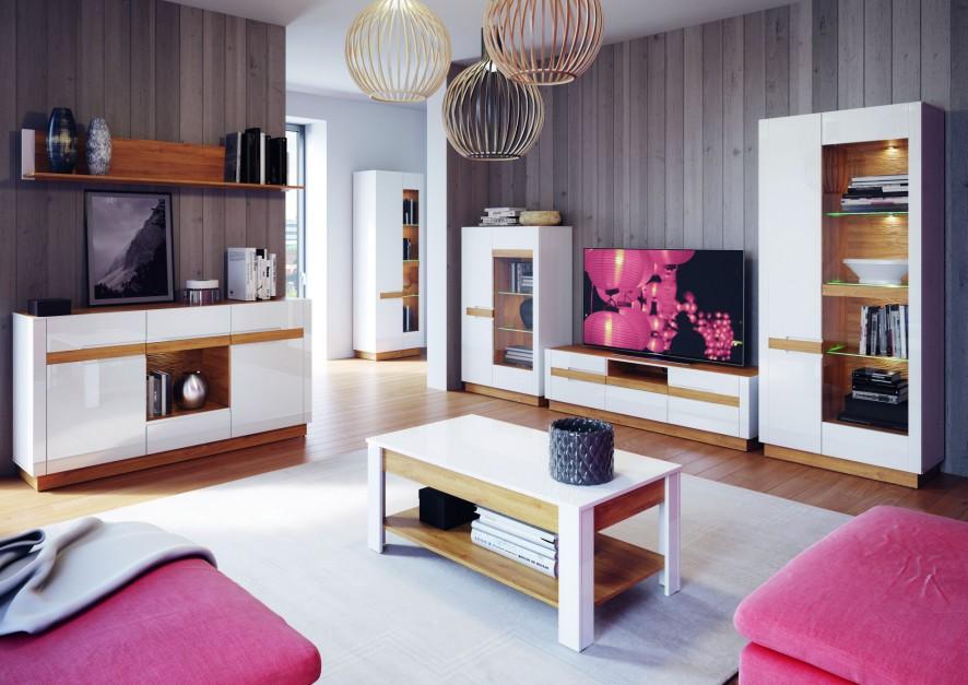 Kolekcja Visio to nowoczesne meble na wysoki połysk ocieplone elementami drewna. Całość dopina stylowe oświetlenie. Fot. Szynaka Meble