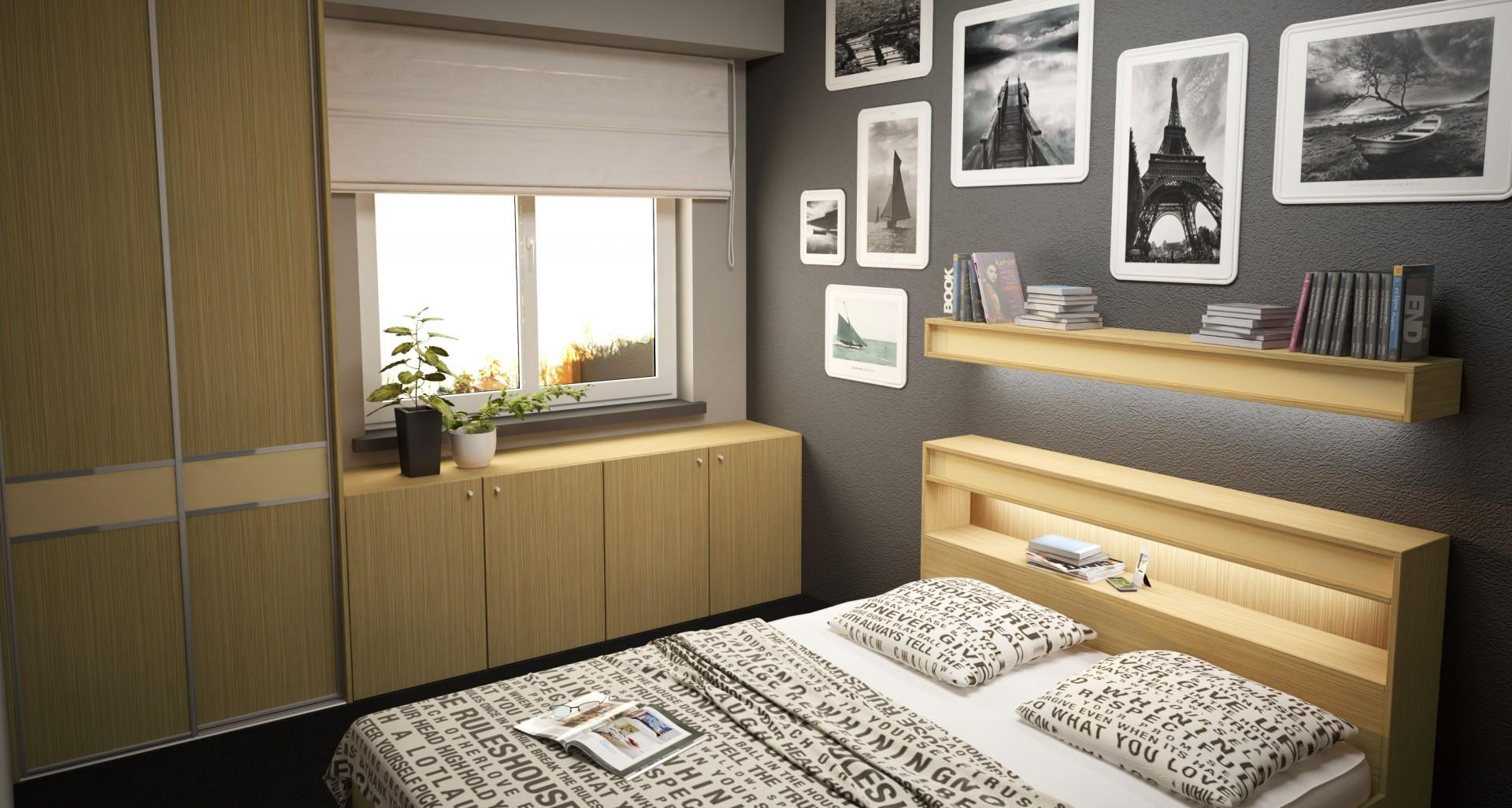 Zabudowa wykonana na wymiar, dodatkowa półka nad łóżkiem i druga, wbudowana w zagłówek - to rozwiązania do małej sypialni. Fot. Komandor