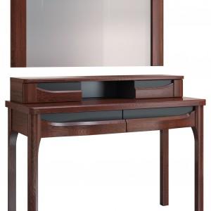 Riva – zestaw z najnowszej kolekcji mebli do sypialni składa się z toaletki z nadstawką i lustra. Fot. Mebin