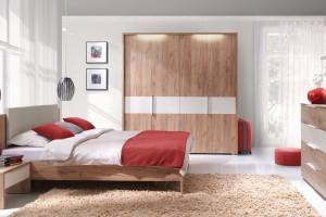 Jasna sypialnia. Piękne meble z rysunkiem drewna