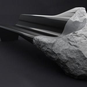 Sofa, w której projektanci połączyli włókno węglowe z kamieniem wulkanicznym. Fot. Peugeot Design Lab