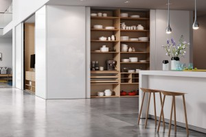 Szafa z drzwiami przesuwnymi w jadalni - sposób na estetyczne wnętrze