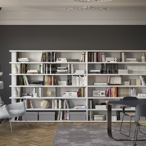 Meblościanka może mieć postać regału na książki, z całkowicie otwartymi półkami. Fot. Pianca