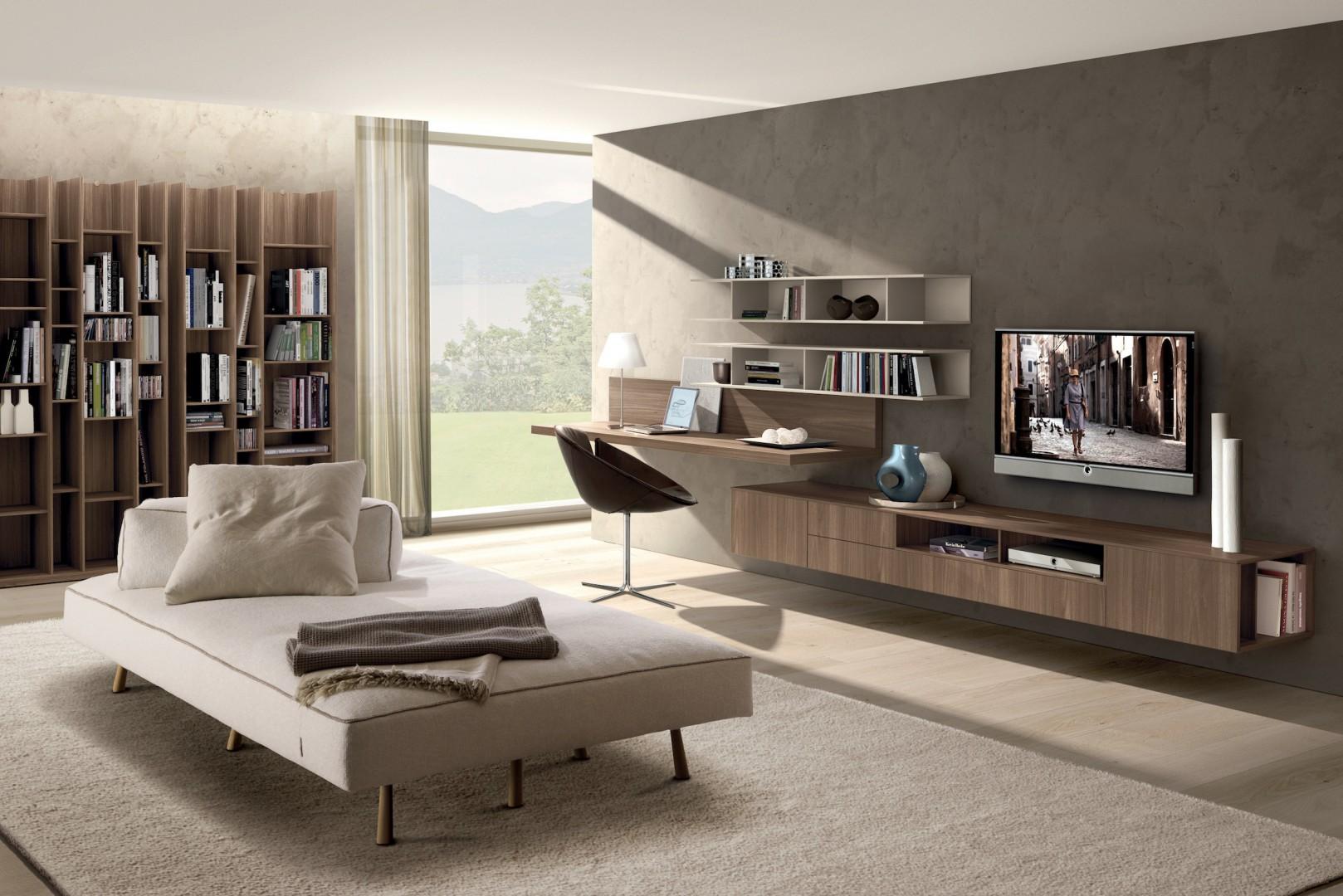 W tej wiszącej kolekcji znalazło się miejsce zarówno na telewizor, jak i na biurko, półki z książkami oraz podręczną szafkę. Fot. Zalf