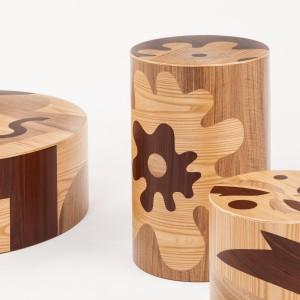 Seria drewnianych siedzisk