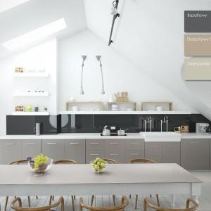 Szkło ornamentowe Colorimo soft 9005 połączone z płytą drewnopochodną w meblach kuchennych. Fot. Mochnik