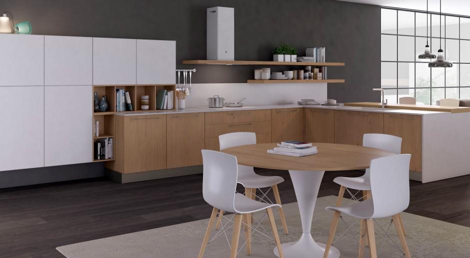Biel z drewnem w kuchni - uniwersalne i efektowne połączenie
