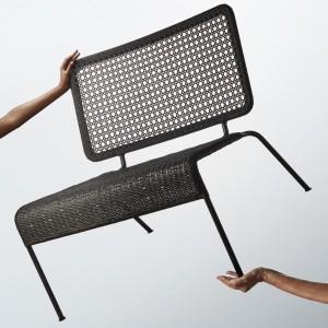 Krzesło z metalu i plecionki z naturalnych włókien. Fot. IKEA