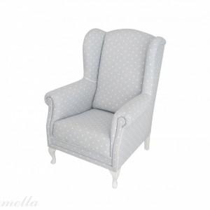 Fotel szary w groszki firmy Caramella. Fot. Caramella