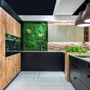 Cegła i mech sprawdzą się w industrialnej kuchni. Fot. Studio Max Kuchnie/ Vigo