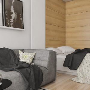 W tym wnętrzu obok małej części dziennej musiało znaleźć się też miejsce na sypialnię. Projekt: Spacja Studio