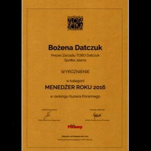 Wyróżnienie Menedzer Roku 2016, Podlaska Złota Setka Przedsiębiorstw