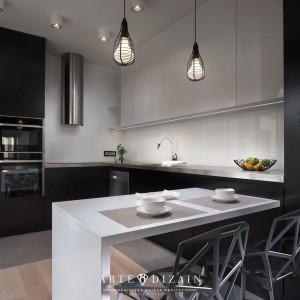 Kuchnia w stylu minimalistycznym, kojarzącym się z laboratorium. Projekt wnętrza Arte Design