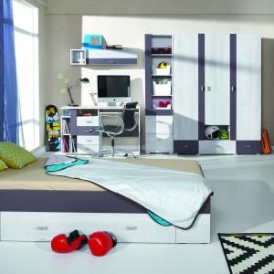 Dwukolorowe łóżko z szufladą. Fot. Meblar