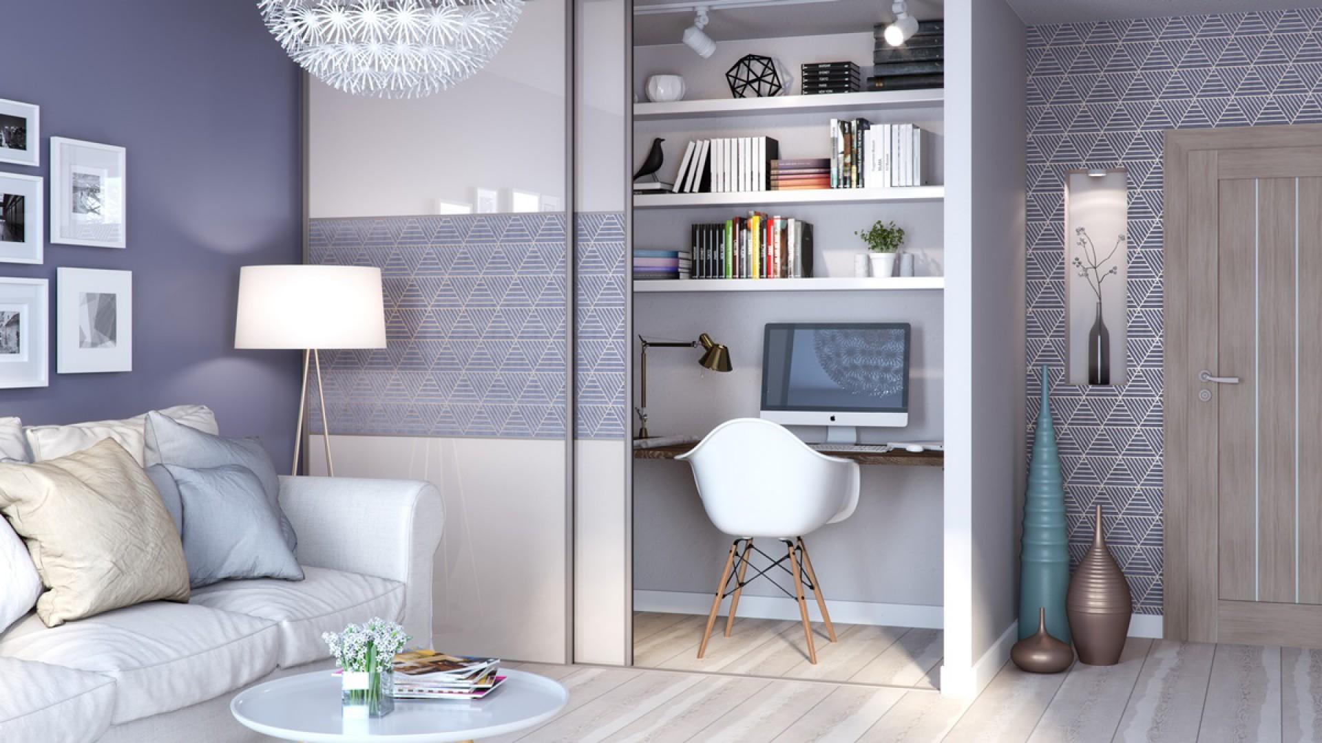 W salonie drzwi przesuwne mogą zakrywać półki z dokumentami czy pamiątkami lub biblioteczki. Fot. GTV