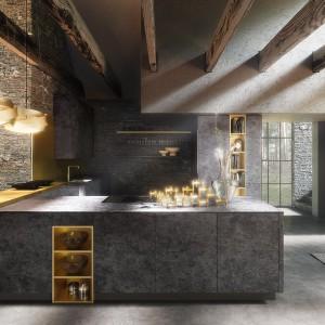 Ciemne, przypominające beton fronty pasują do kuchni w stylu loft. Fot. Alno