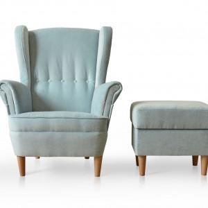 Tradycyjny fotel typu uszak Sun II dostępny wraz z pufem. Fot. Rosanero