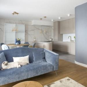 Szaroniebieska sofa pasuje do niewielkiego, przytulnego wnętrza. Projekt: Pracownia Kaza