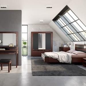 Ciemne drewno w nowoczesnym stylu - sypialnia Riva. Fot. Mebin