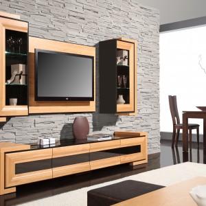 Panel TV umieszczony pomiędzy dwiema wiszącymi szafkami (Corino). Fot. Mebin