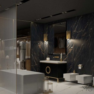 Prawdziwym hitem jest marmur, są to nie tylko płyty kamienne na blaty czy do okładania ścian, ale i jego motyw, który widnieje na poduszkach, obrazkach i innych dekoracyjnych przedmiotach. Fot. Pracownia Architektoniczna MGN