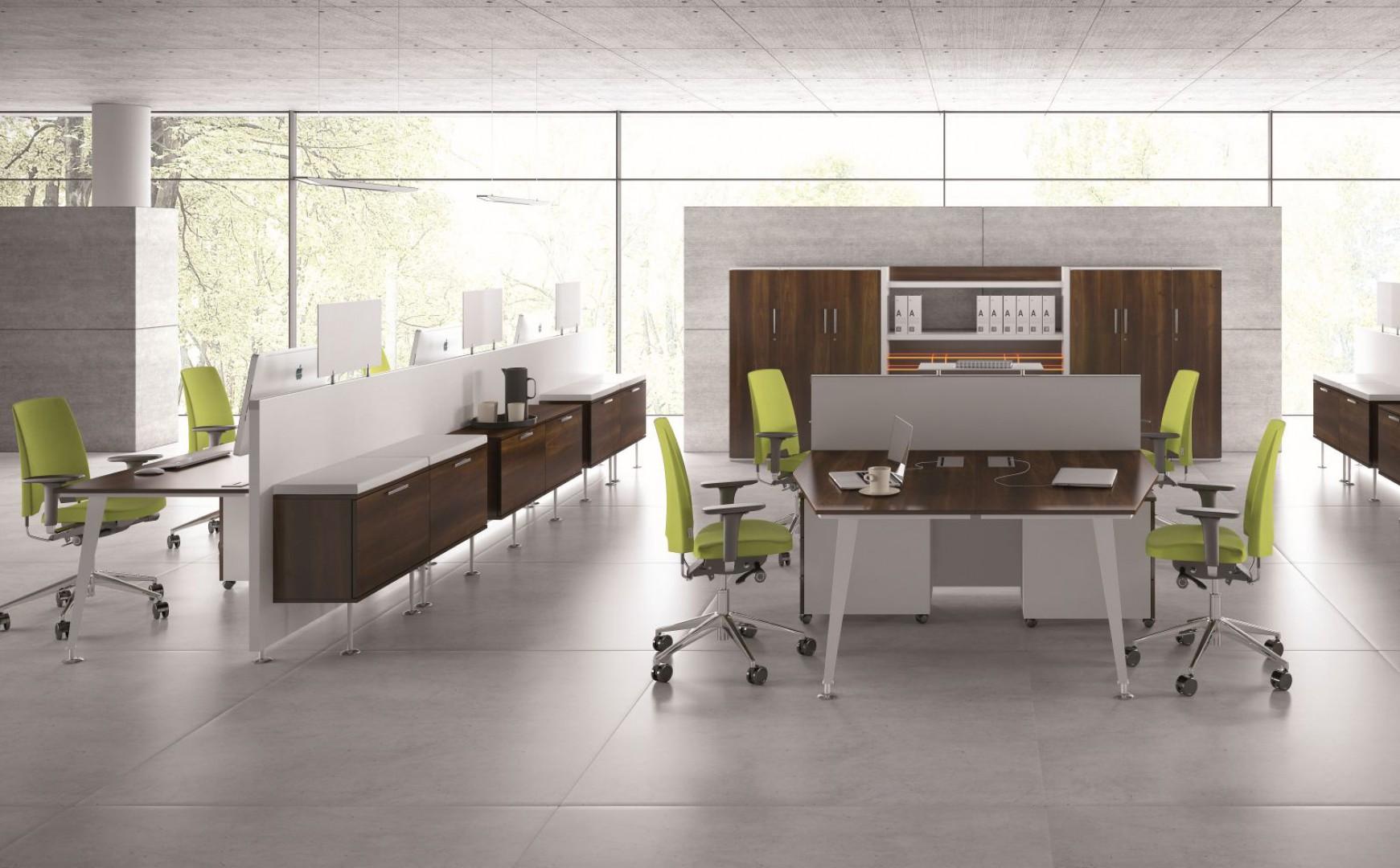 W nowoczesnych biurach niezbędne są meble z funkcją przechowywania. Fot. Mebelux