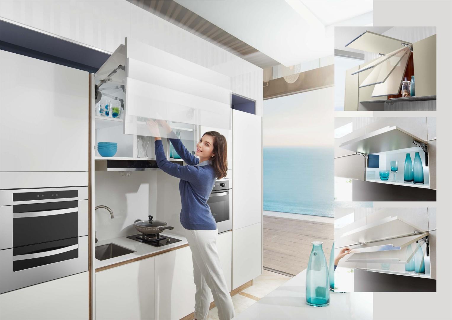 W tej kuchni zastosowano podnośniki do otwierania szafek górnych z oferty firmy Amix. Fot. Amix