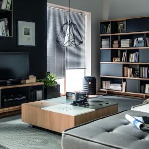 Grafitowe fronty plus drewniane półki i blaty w kolekcji firmy Vox. Fot. Vox