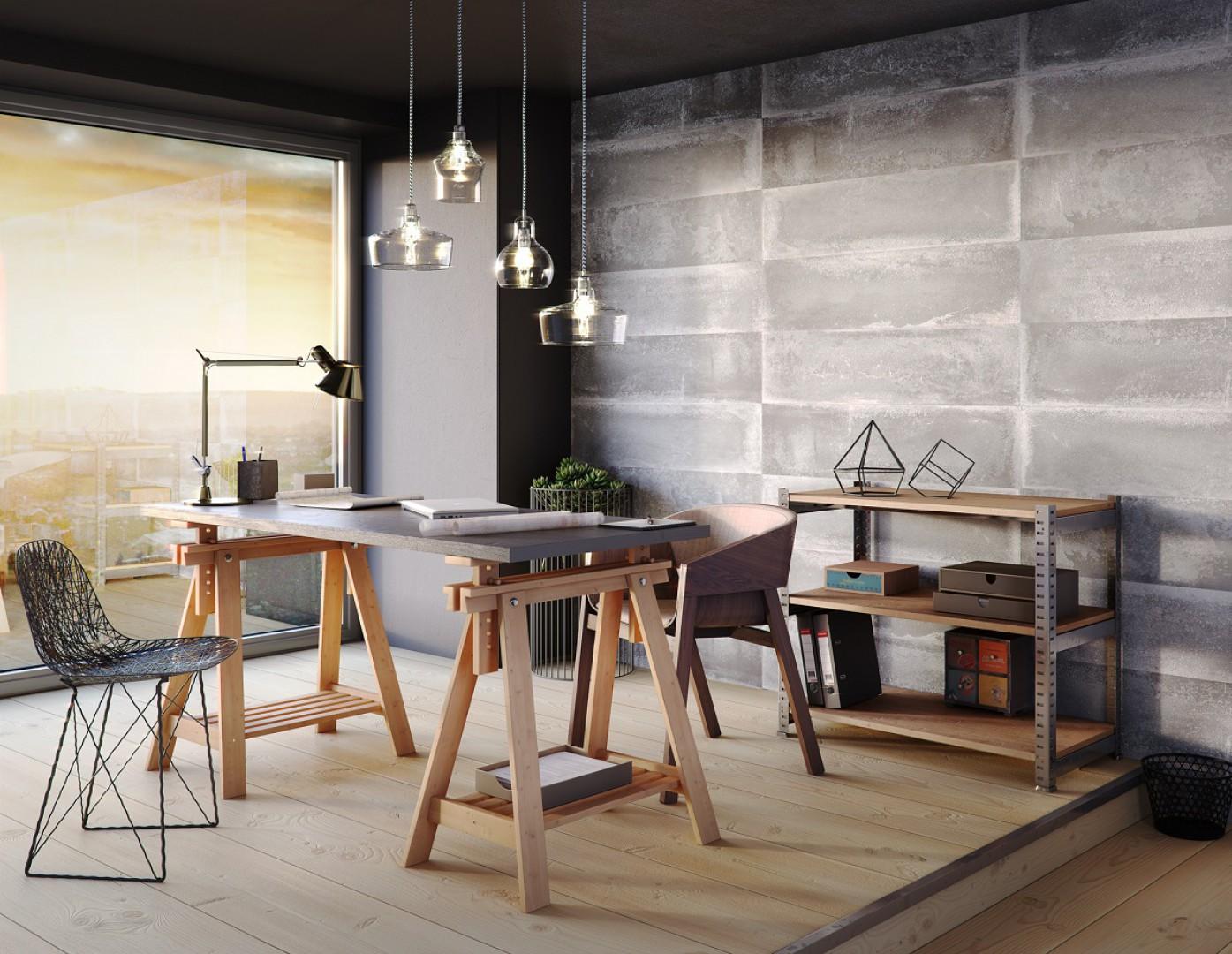 Loftowy dekor na ścianie podkreśla klimat wnętrza. Fot. Kerradeco