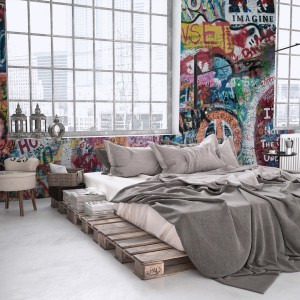 Fototapeta graffiti w sypialni. Fot. Myloview