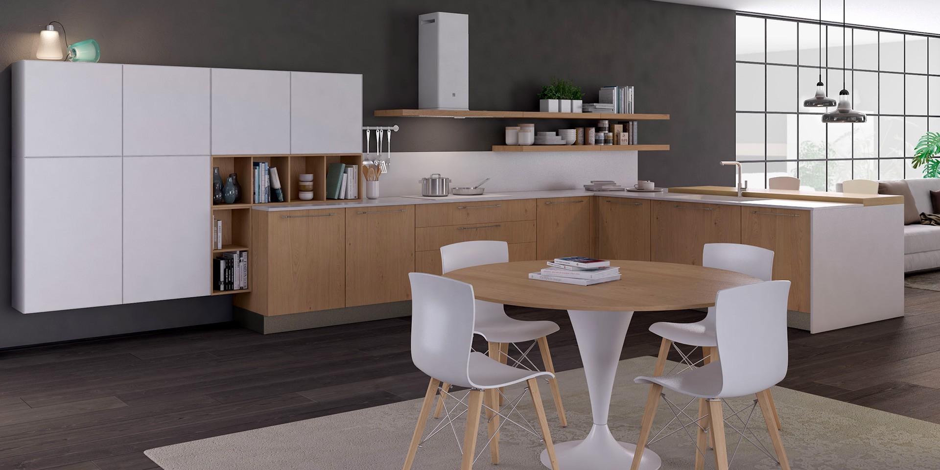 Kuchnia Clover Bridge - połączenie drewna z bielą. Fot. Lube