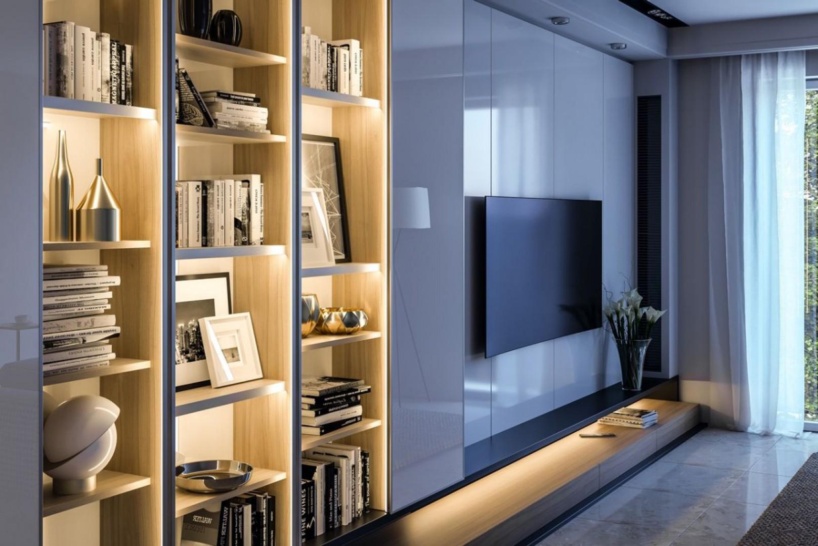 Oświetlenie może się znaleźć praktycznie w każdej części mebla – we wnękach i półkach, pod meblem, na wieńcu, a nawet w szufladach. Fot. GTV