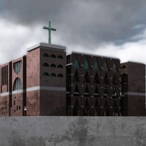 Kościół na osiedlu Nowe Żerniki (Wrocław). Projekt konkursowy. Projekt: Tomasz Sachanowicz.