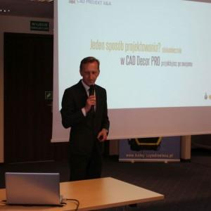 Marcin Pietrzyk, przedstawiciel firmy CAD Projekt. Studio Dobrych Rozwiązań 11.04 Bielsko-Biała. Fot. Wojciech Napora