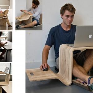 3 w 1: krzesło, stół i biurko. Projekt: Daniel Diermeier. Fot. Hettich/Rehau