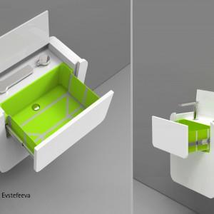 Umywalka z szufladą zmieści się nawet w najmniejszym mieszkaniu. Projekt: Ksenia Efstefiejewa. Fot. Hettich/Rehau