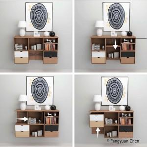 Projekt pozwalający dowolnie konfigurować półki. Projekt: Fangyuan Chen. Fot. Hettich/Rehau