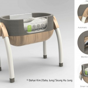 Kołyska monitorująca funkcje organizmu dziecka. Projekt: Dahye Kim, Daby Jung, Seung Hu Jung. Fot. Hettich/Rehau