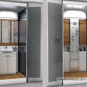 Umywalka z przodu, kabina prysznicowa z tyłu - miniłazienka, która zajmuje tylko 1 metr kwadratowy. Projekt: Maria Lewicka i Daniel Czechin. Fot. Hettich/Rehau