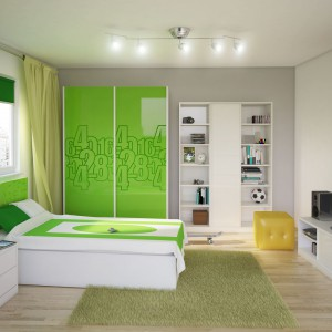 Białe łóżko z zielonym wezgłowiem wygląda modnie i wprowadza radosny nastrój. Fot. Miretto