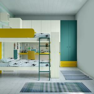 Piętrowe, podwójne łóżko w jasnych kolorach to funkcjonalne rozwiązanie dla dwóch dziewczynek. Fot. Lube