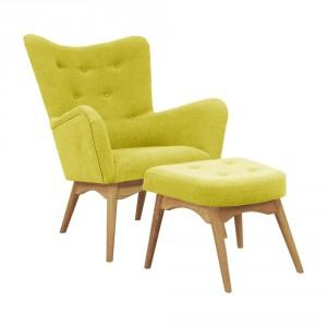 Żółty fotel z podnóżkiem Helga Interiors Karl, Bonami.pl