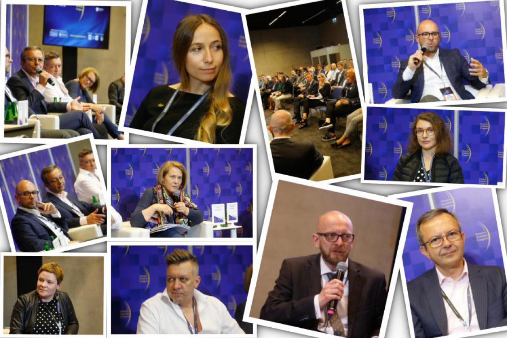 """Prelegenci podczas sesji """"Biznes i emocje – dizajn we współczesnej gospodarce"""" na Europejskim Kongresie Gospodarczym 2018, fot. PTWP"""
