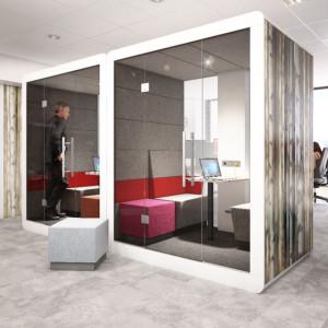 """Kabina akustyczna """"#Hush Closed"""" firmy Mikomax Smart Office zajmuje tyle samo miejsca co dwa biurka, a zapewnia komfort pracy i spotkań. Fot. Mikomax Smart Office"""